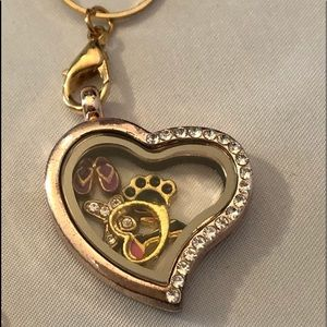 Jewelry - Floating Heart Charm Necklace, Gold, Gift for MOM